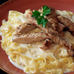 Fettuccine Alfredo with Grilled Organic Chicken